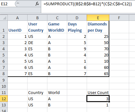 SUMPRODUCT count matching rows